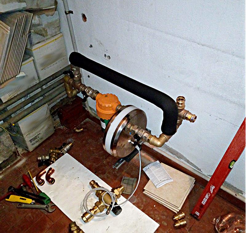 Trattamento acqua in fase di installazione